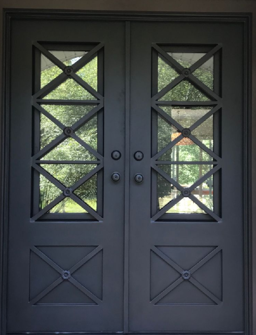 Beautiful Iron Double Door Size 64 X 82 Still In Original Wrap Color Aged Bronze Patina Clear Gl Left Hand Inswing 5 1 2 Jamb Bore